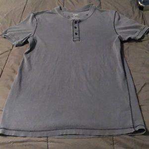Blue button up t-shirt. 100% cotton
